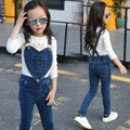 Children Clothing Sets For Girls White T-Shirts & Overalls 2Pcs Long Sleeve Tees Girls Jeans Kids Outfits 2 4 6 8 10 11 12 Years