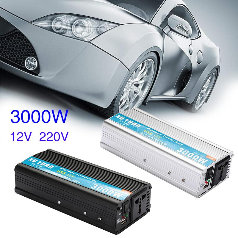 Vehemo 3000W Car Solar Power Inverter Converter Transformer DC 12V to AC 220V w/Adapter Portable portable car inverter dc 12v to ac 220v 3000w car charger power inverter supply converter adapter with double universal socket