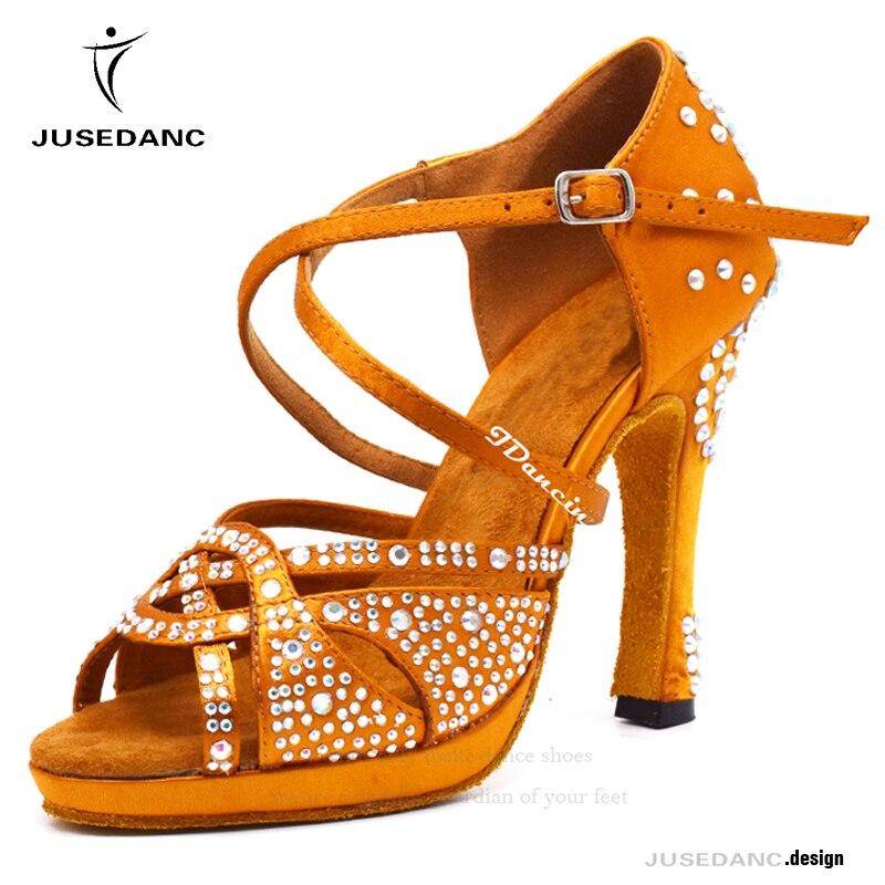 Chaussures de danse latine talons hauts avec plate-forme Bronze chaussures de danse latine pleine strass 12 cm chaussures de danse carrées pour femmes salle de bal