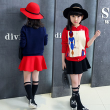 New Korean Girls Autumn Cardigan Sweater Jacquard Kids Clothing Red Dark Blue