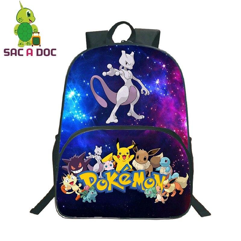 16 Inch Bagpack Pokemon Mewtwo Gengar Backpack Multicolor School Bag For Teenagers Students Kids Rucksack Book Bag Bolsa Escolar