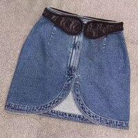 2019 новейшая вышивка джинсовая женская юбка летняя женская трапециевидная джинсовая юбка высокая Модная брендовая Джинсовая юбка мини