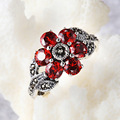 GZ Garnet Ring 925 Sterling Silver Marcasite Red Corundum Flower Vintage Pure S925 Thai Silver Rings for Women Jewelry R123