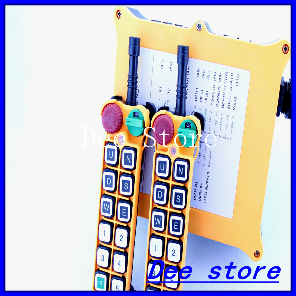 11 Channel 1 Speed 2 Transmitters Hoist Crane Truck Radio Remote Control Push Button Switch System with Emergency-Stop