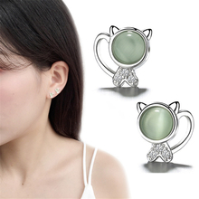 Cute&Romantic Animal Kitty Cat Moon Stone Brincos Stud Earrings For Women 925 Sterling Silver Green Fashion Jewelry SE758