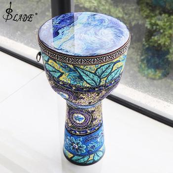 8 Cal piękny afrykański bęben Djembe kolorowa szmatka Art ABS beczka pcv skóra dla dzieci bęben ręczny Instrument muzyczny tanie i dobre opinie SLADE Other 8 Inch 10 cal African Djembe Drum