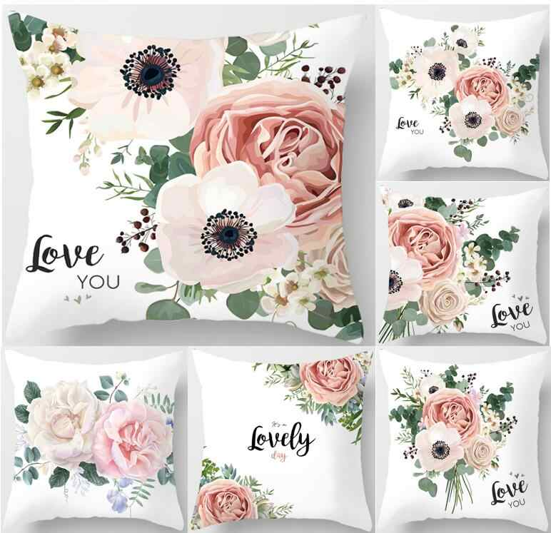 45*45 Pink Love Flower Letter Pillow Case Polyester Home Throw Pillows Soft Decorative Cushion Cover For Sofa Chair Pillow Cover
