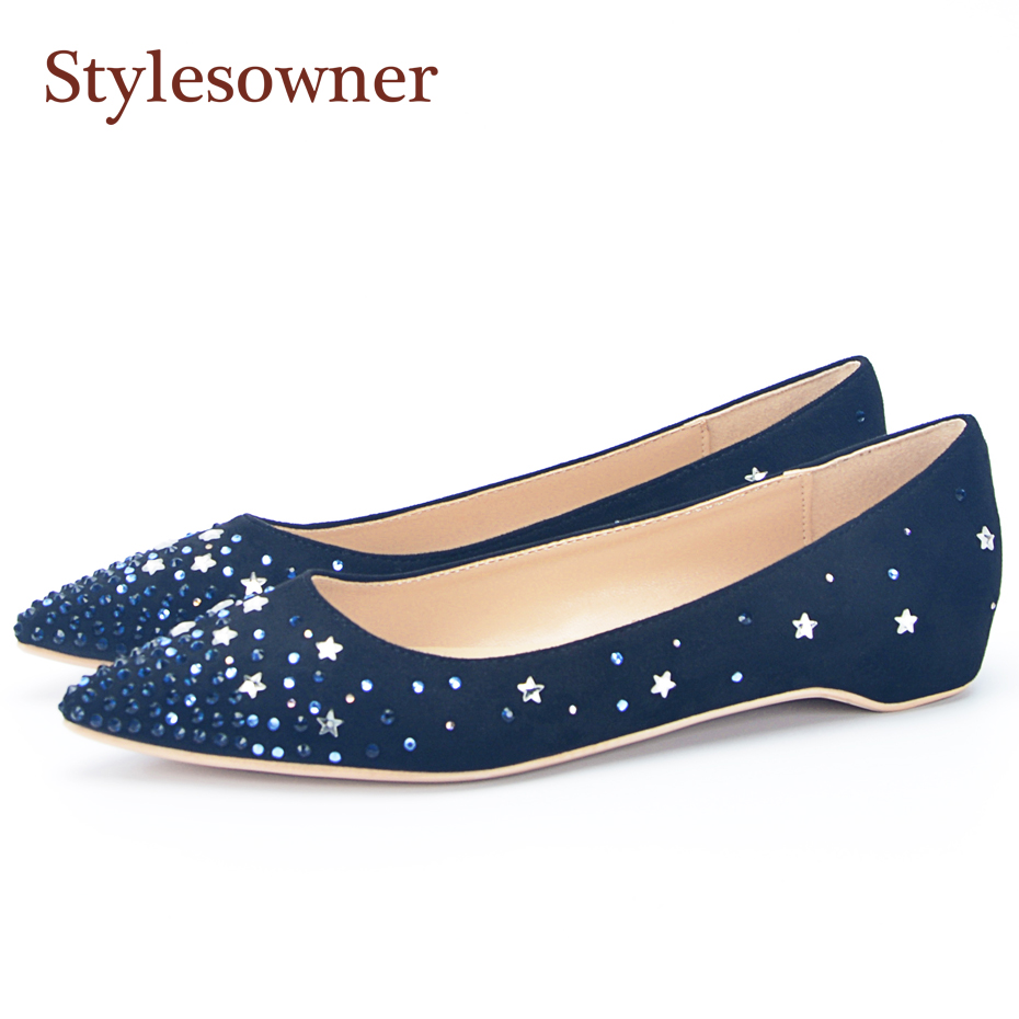 Stylesowner Bling Rhinestone Women Casual Shoes Pointed Toe Slip On Glitter Crystal Flats Heels Woman Wedding Party Shoes gold sliver shoes woman for 2016 new spring glitter bling pointed toe flats women shoes for summer size plus 35 40 xwd1841