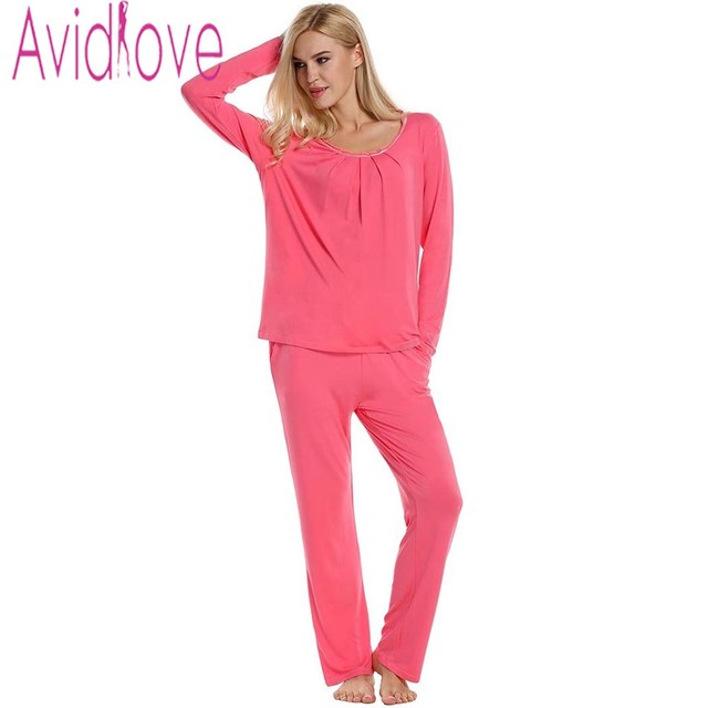 Avidlove Women Pajamas Casual Solid Pleated Sleepwear Long Sleeve Top and  Pants Nightgown Plus Size Female 0f1c7f0e8