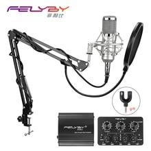 FELYBY bm 800 Microphone à condensateur professionnel pour ordinateur Audio Studio Vocal enregistrement karaoké interview micro alimentation fantôme