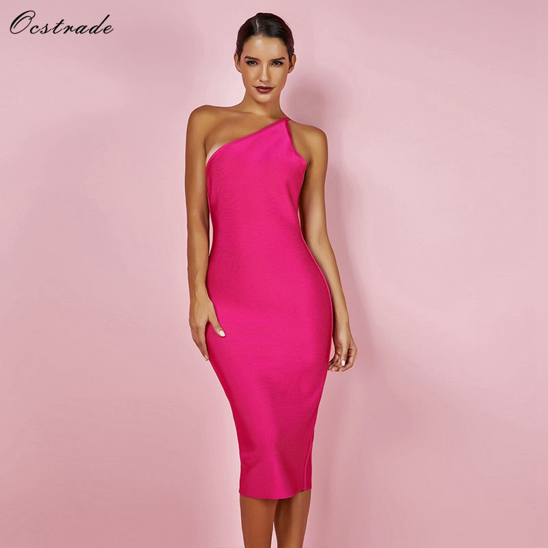 f0b04d15e1c1 Ocstrade Fashion Summer Celeb Bandage Dress 2019 Hot Pink Backless Party  Dress Bodycon Sexy Women One Shoulder Bandage Dress