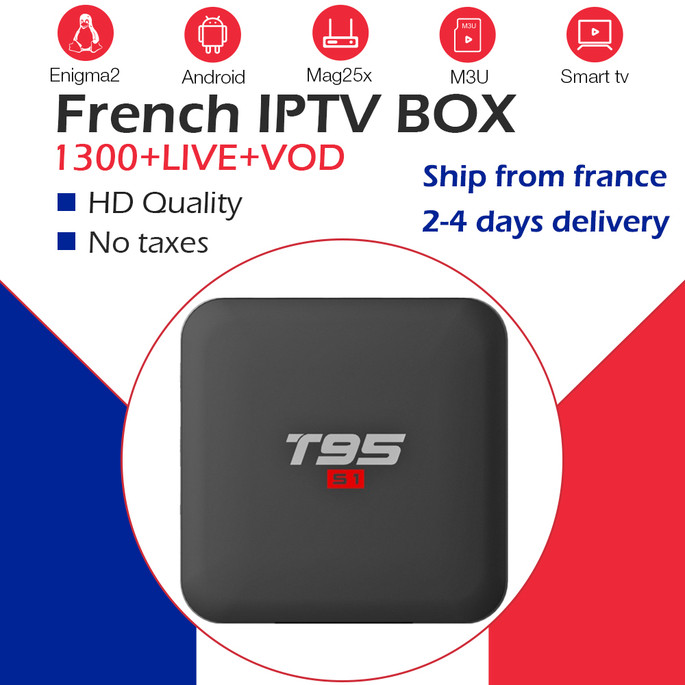 French iptv subscription with Android tv box 7 1 T95 S1 1200 live VOD best for