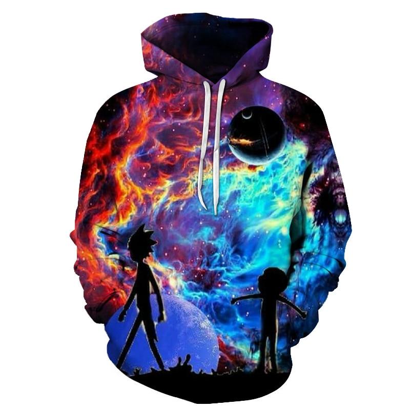 Galaxy Hoodies Men Hoody 3D Sweatshirt Rick and Morty Tracksuit Funny Pullover Cartoon Coat Streetwear Clothing Dropship XS-7XL