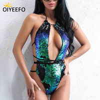 Oiyeefo Shiny Green Gold Sequins Swimsuit One Piece Bathing Suits Women Strappy Bright Luxury Monokini Sexy