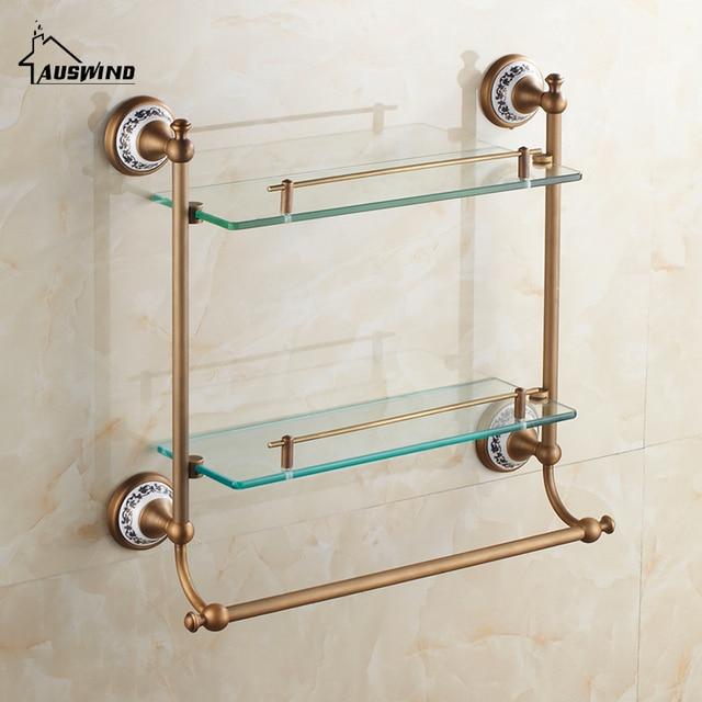 Antieke Keramische Planchet Luxe Brons Wandmontage Dubbellaags Glas ...