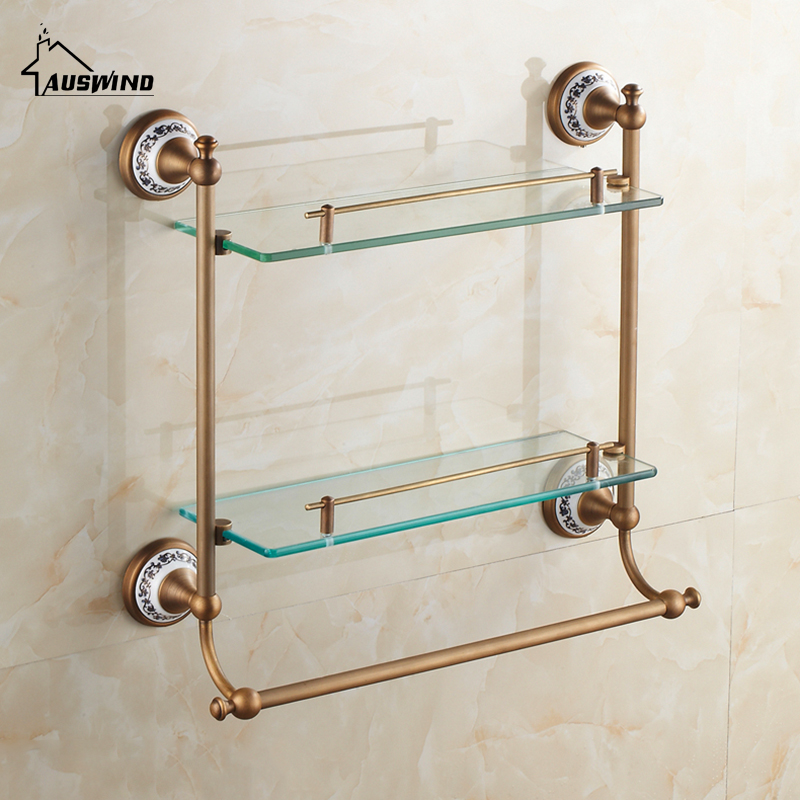 Antique ceramic bathroom glass shelf luxury bronze wall - Bathroom accessories glass shelf ...