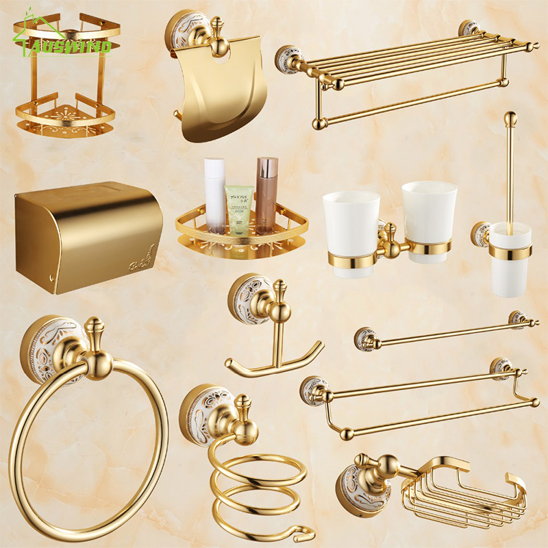 Antique carved luxury golden bathroom products ceramic bathroom accessories sets towel bar for Ceramic towel hooks for bathrooms