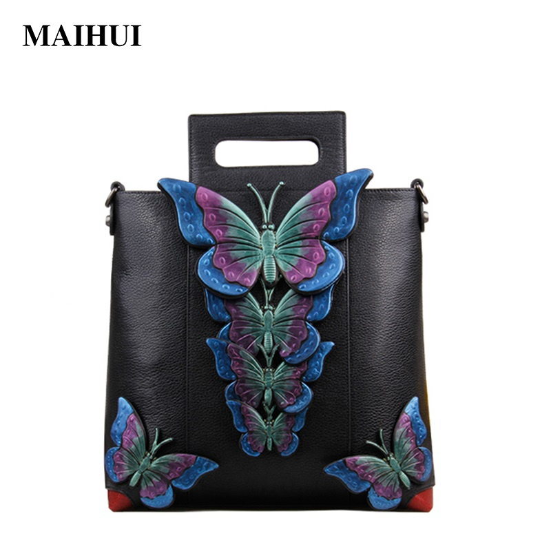 Maihui women leather handbags high quality woman shoulder bags 2017 new national cowhide real genuine leather casual tote bag new national embroidery bags high quality women fashion shoulder