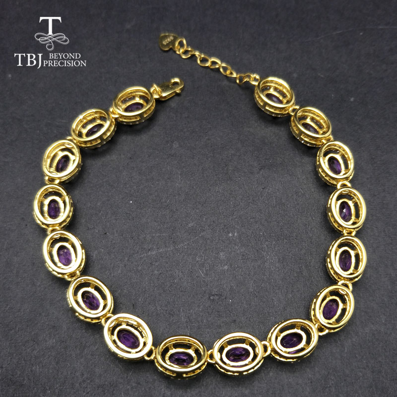 TBJ,Long natural gemstone bracelet with natural amethyst in 925 sterling silver yellow gold color for women with gift box