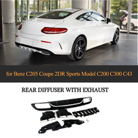 C63 AMG Style Diffuser with exhaust tips for Mercedes Benz W205 Coupe 2 Door C200 C300 C43 AMG to C63 AMG Rear Bumper Lip