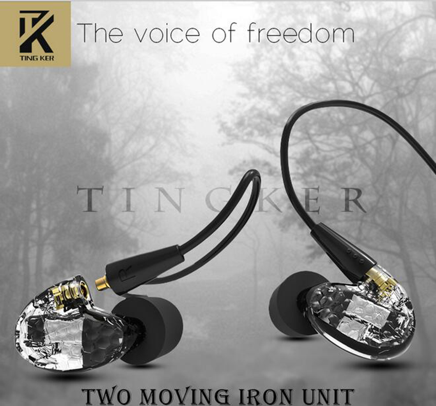 2017 Hot Sale Tingker T260 Two Balanced Armature IEMS HIFI Honeycomb Earbuds In Ear Earphones Headset With Detachable MMCX Cable fashion professional in ear earphones light blue black 3 5mm plug 120cm cable