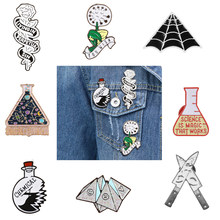Enamel Pin Origami game Heart coffin Science chemical Cobweb Matches Rose Knife Brooch and Pin Cartoon Lapel Pin Button Badges(China)