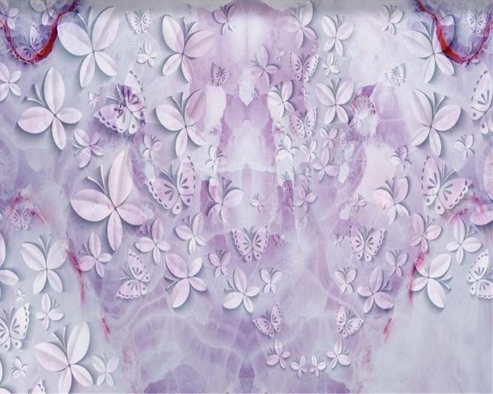 Beibehang 3d Wallpaper Beautiful Butterfly Purple Marble Texture