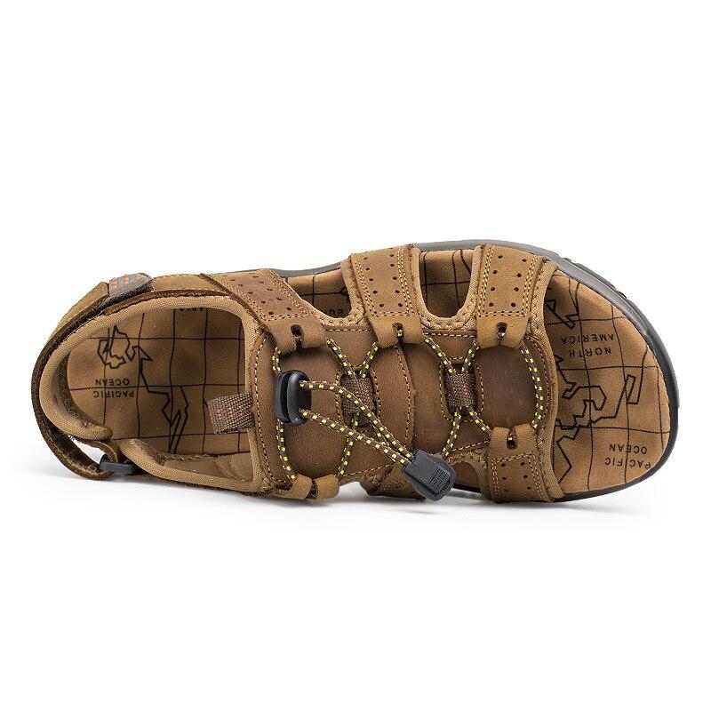 ba4e7d017cbd ... LINGGE Brand Genuine Leather Sandals Summer Men Shoes Large Size Men S  Sandals Rubber Sole Men Shoes