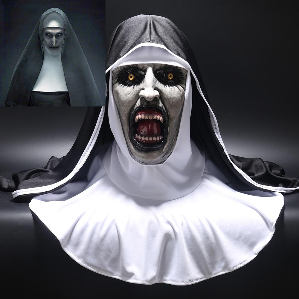 2018 A Freira Horror Máscara Cosplay Valak Assustador Máscaras De Látex com Véu Véu Capô Rosto Cheio Capacete Traje Horror Halloween prop