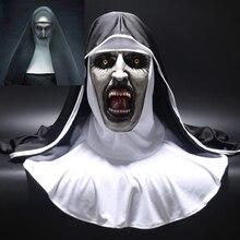 2018 монахиня Ужасы маска Косплэй valak страшные латексные маски с Платок Вуаль капюшон полный шлем Ужас Хеллоуин Костюм Опора
