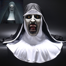 2018 The Nun Horror Mask Cosplay Valak Scary Latex Masks with Headscarf Veil Hood Full Face Helmet Horror Costume Halloween Prop