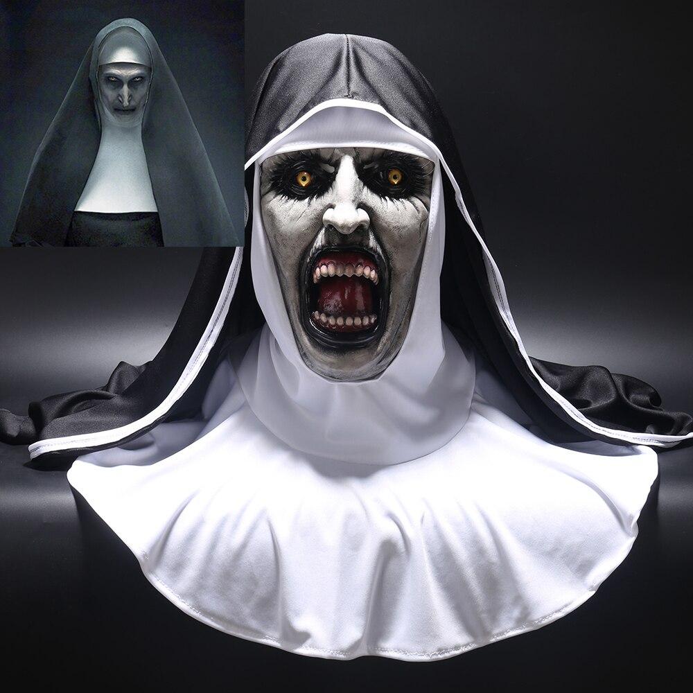 2018 die Nonne Horror Maske Cosplay Valak Scary Latex Masken mit Kopftuch Schleier Haube Volle Gesicht Helm Horror Kostüm Halloween prop