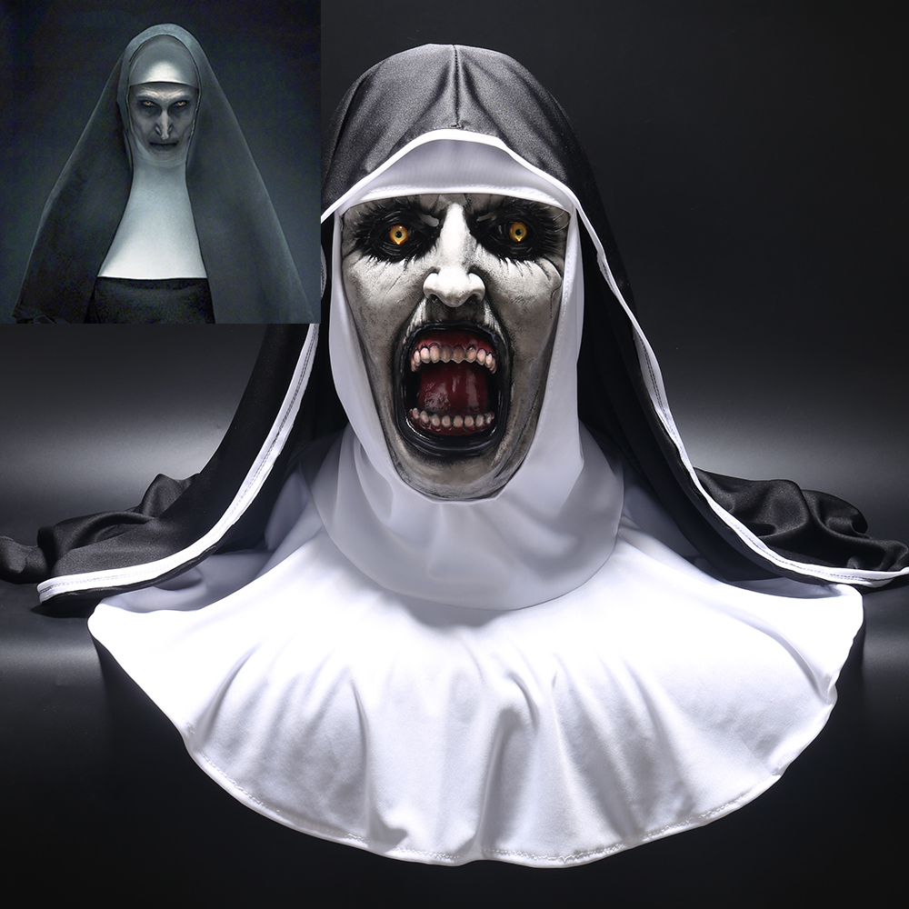 2018 máscara de Horror de la monja Cosplay Valak máscaras de látex de miedo con velo de cabeza capucha de cara completa casco de Horror disfraz de Halloween Prop