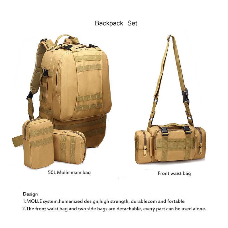 50L Taktis Ransel 4 In 1 Militer Tentara Ransel Molle Outdoor Olahraga Tas Pria Camping Hiking Perjalanan Pendakian tas