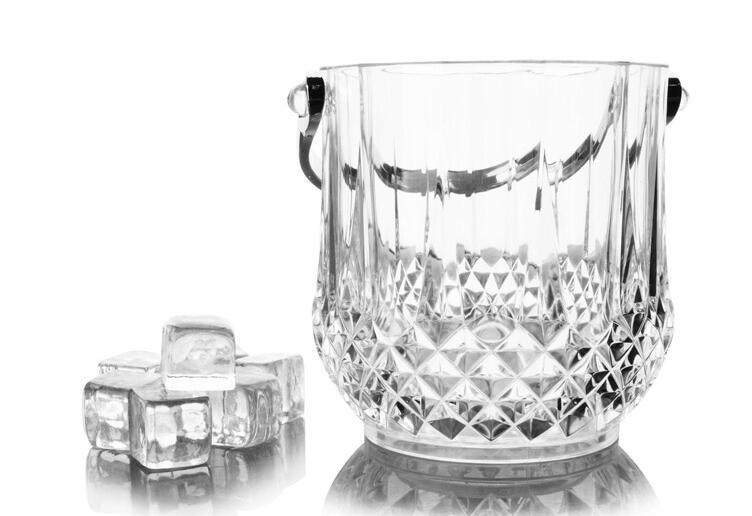 Cestovní velikost Akrylátová ledová vědra Bar nádoba na plasty, chladič vína, sada 2 ks