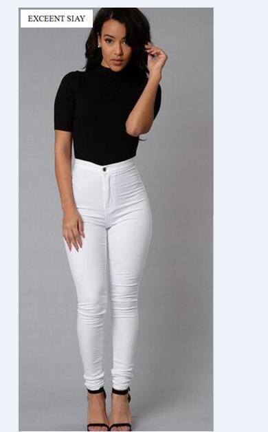Fashion Dünne Femme Weibliche 2017 Weiße Jeans Mit Hohe Taille Engen