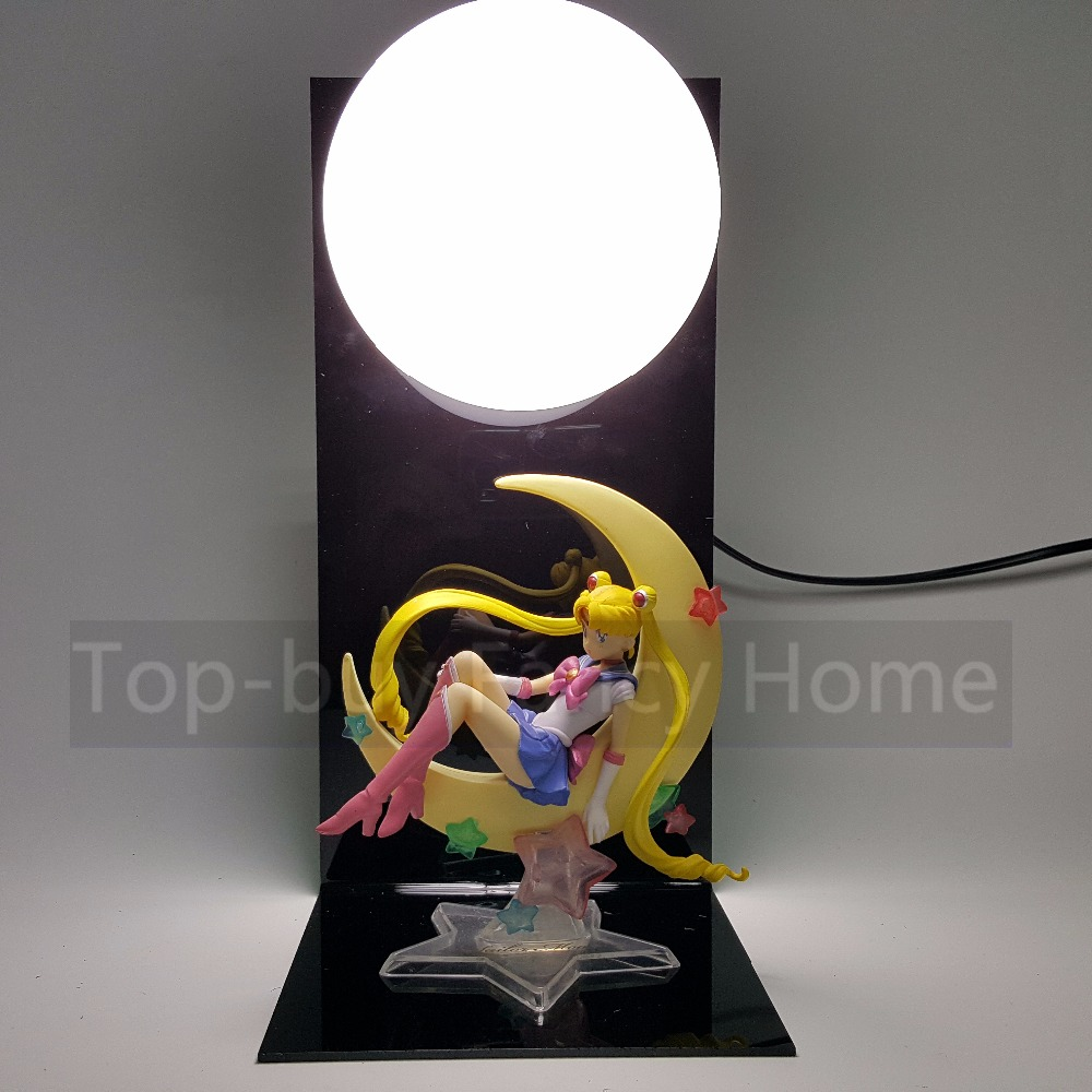 ФОТО Sailor Moon Action Figures Tsukino Usagi With Moon DIY Model Toys Anime Sailor Moon+Base+Blub