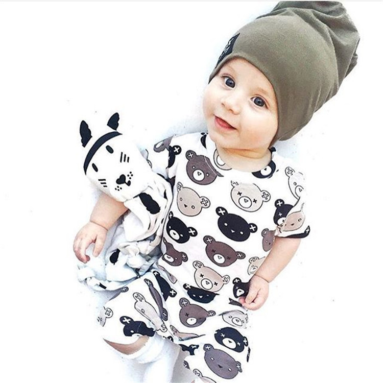 Newborn Baby Romper Cute Bear Printed 2017 Summer Infant boys girls short sleeve One Piece Jumpsuit Outfit Christmas Clothes цена и фото