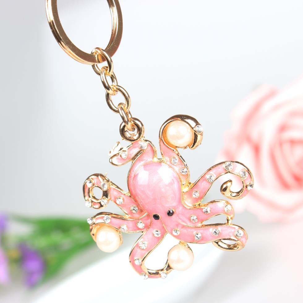 Pink Octopus Pearl Cute Crystal Charm Purse Handbag Car Key Keyring Keychain Party Wedding Birthday Gift mini motorcycle helmet keychain cute keyring