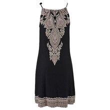 Summer Dress  Halter Neck Boho Print Sleeveless Casual Mini Beachwear Dress