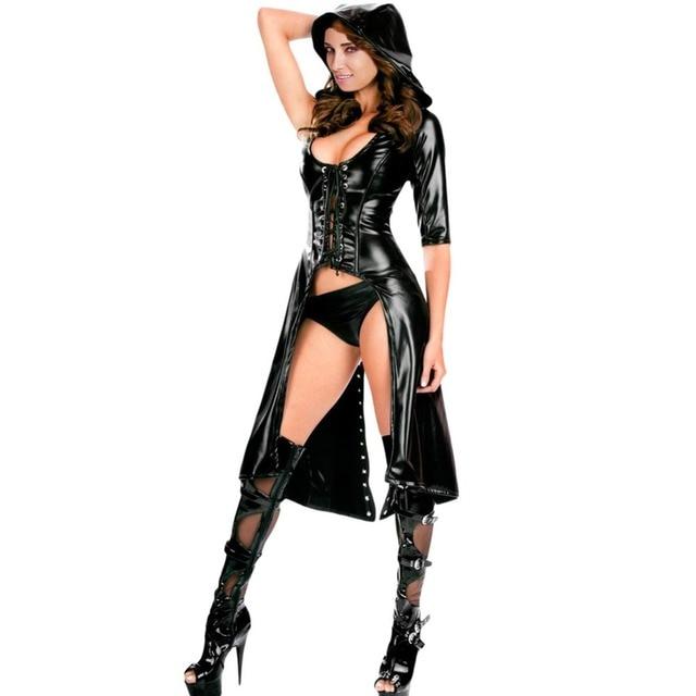 fgirl cosplay costume sexy halloween costumes for women black gothic punk wetlook sweet pea hooded coat - Halloween Punk Costume