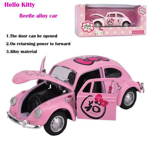 childrens toy hello kitty pull back cute beetle toy alloy car model boys and girls toy metal car models birthday gift for kids