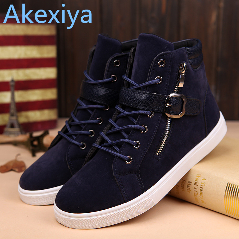 Akexiya 2017 New Zapatillas Men Shoes Fashion Spring Autumn Leather Shoes For Men Lace-Up Casual High Top Shoes 2017 new summer breathable men casual shoes autumn fashion men trainers shoes men s lace up zapatillas deportivas 36 45
