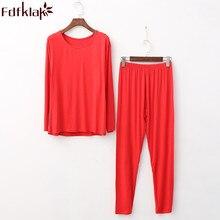 Pijamas femininos para o inverno 2020 outono nova manga longa modal conjunto de pijama mulher mais tamanho XL 5XL pijama q307