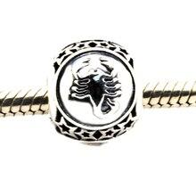 Se adapta a Pandora Pulsera Escorpio signo zodiacal encanto Beads Original authertic 925 plata Esterlina encantos diy de la joyería envío gratis