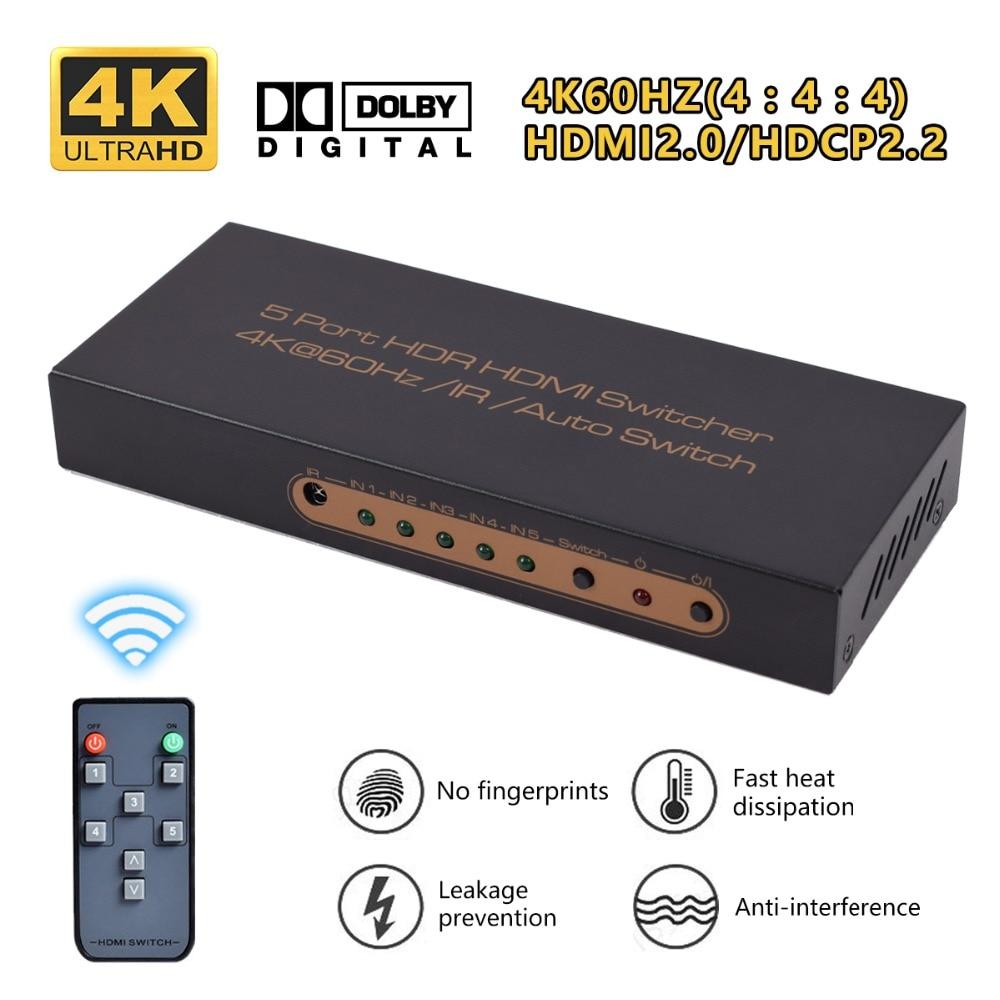 Iseebiz 2.0 HDMI Splitter HD 4K*2K/60HZ HDMI 2.0 Switch 5 Input 1 Output Switcher for Home Theater DVD Player 500pcs 1210 1 2k 1k2 1 2k ohm 5