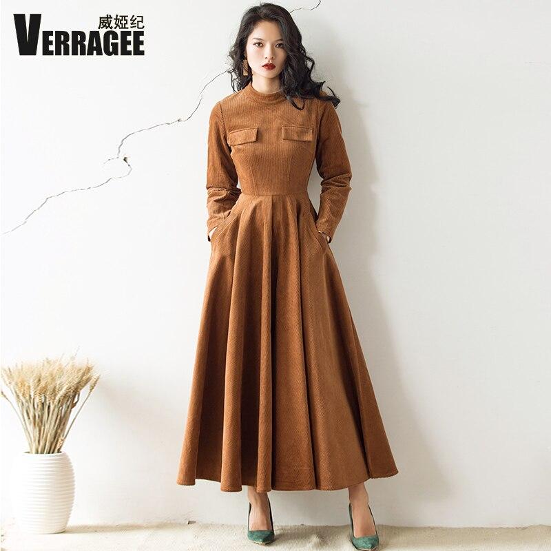 VERRAGEE 2018 autumn winter new vintage women mandarin collar green brown dress long Sleeve High Waist retro elegant Maxi Dress