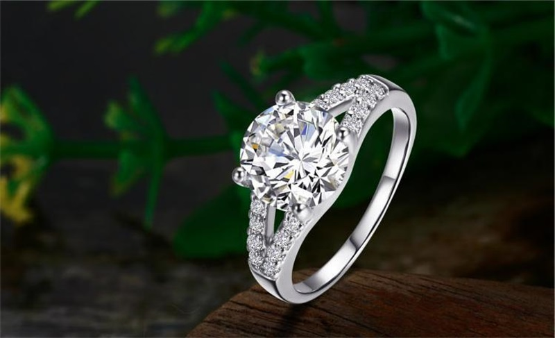 YANHUI Fine Jewelry Real 100% 925 Sterling Silver Ring S925 Stamped 2 Carat CZ Diamant Engagement Wedding Rings For Women RJ29G