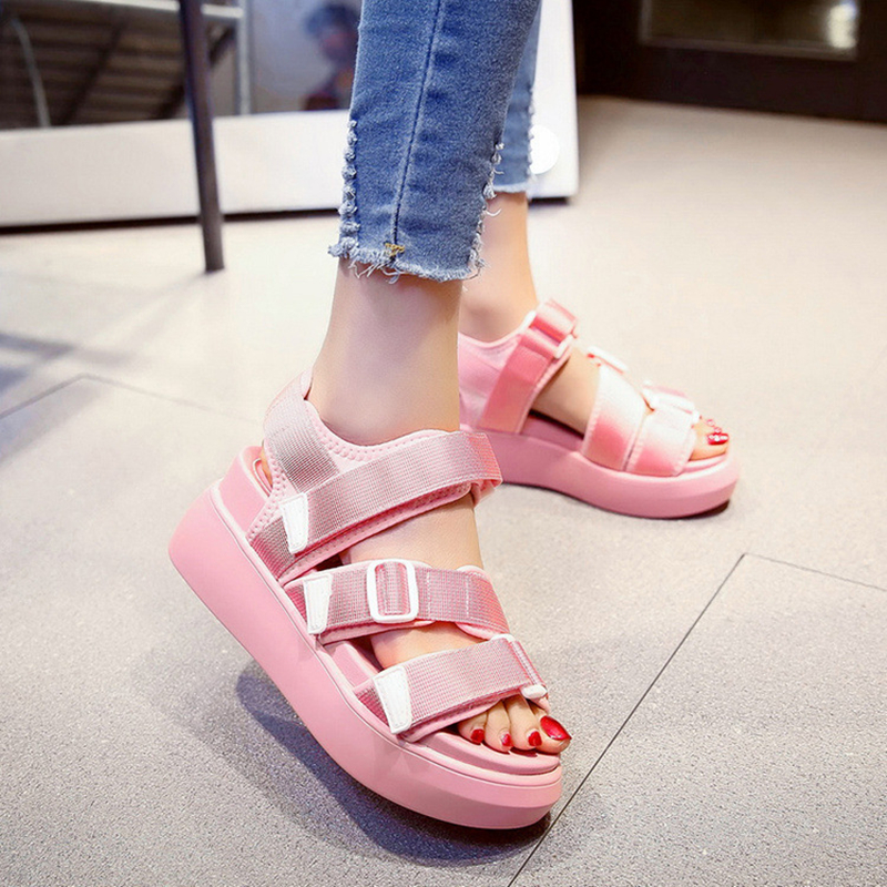 Summer Shoes Woman Platform Sandals Women Soft Leather Casual Open Toe Gladiator Wedges Women Nurse Shoes zapatos mujer Size 8 2017 gladiator summer shoes woman platform sandals women flats soft leather casual open toe wedges sandals women shoes r18