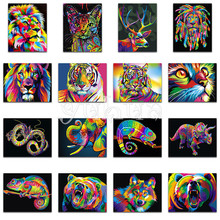 Full Square Diamond embroidery tiger&lion DIY 3D painting Cross stitch dog&cat Round mosaic color animals #